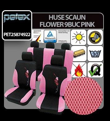 Huse scaun Eco Class Flower set 17buc - Pink