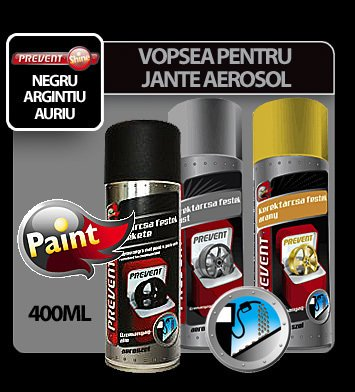 Vopsea pentru jante rezistenta la combustibili aerosol Prevent 400 ml - Argintiu