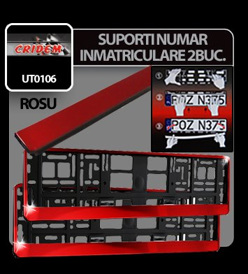 Suporti numere inmatriculare Rosu 2buc