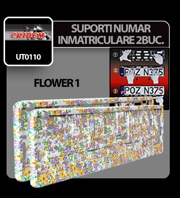 Suporti numere inmatriculare Flower 1 - 2buc