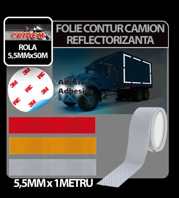 Folie contur camion reflectorizanta 5,5 cm x 1 ml - Galben