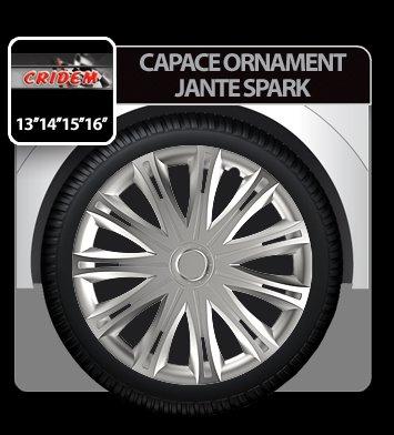 Capace ornament jante Spark 4buc - Argintiu - 13''