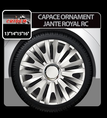 Capace ornament jante Royal RC 4buc - Argintiu - 13''