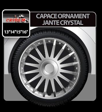 Capace ornament jante Crystal 4buc - Argintiu - 14''