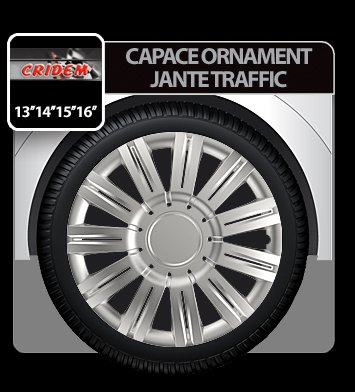 Capace ornament jante Traffic 4buc - Argintiu - 15''