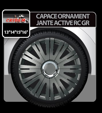 Capace ornament jante Active RC GR 4buc - Grafit - 15''
