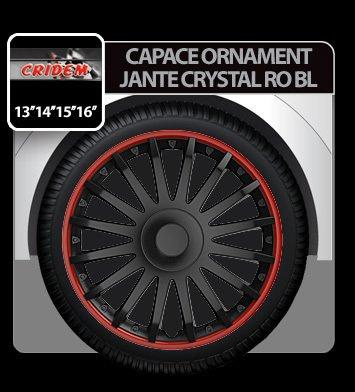 Capace ornament jante Crystal RO BL 4buc - Negru/Rosu - 15''