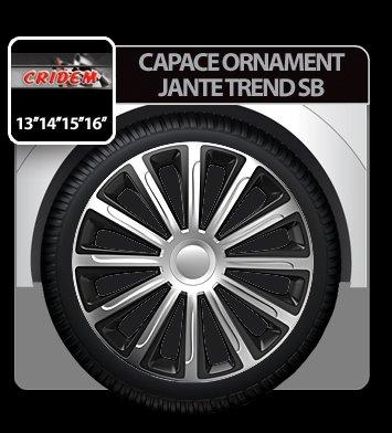 Capace ornament jante Trend SB 4buc - Argintiu/Negru - 15''