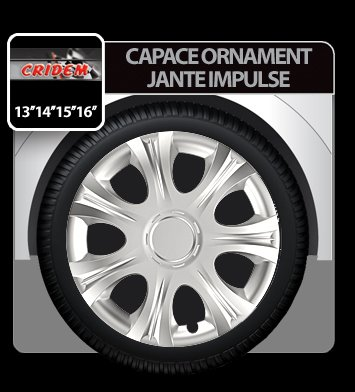 Capace ornament jante Impulse 4buc - Argintiu - 16''